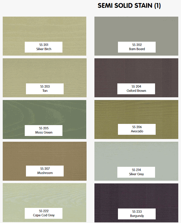 Timber Pro Stain semi solid colors part 1